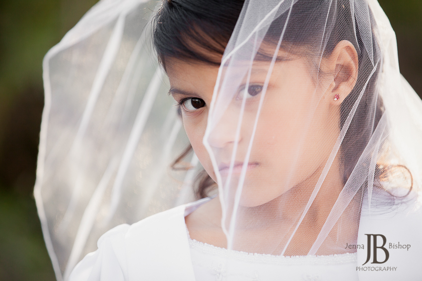 First communion and confirmation looking through veil