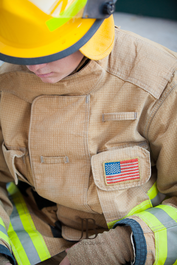 firefighter and american flag