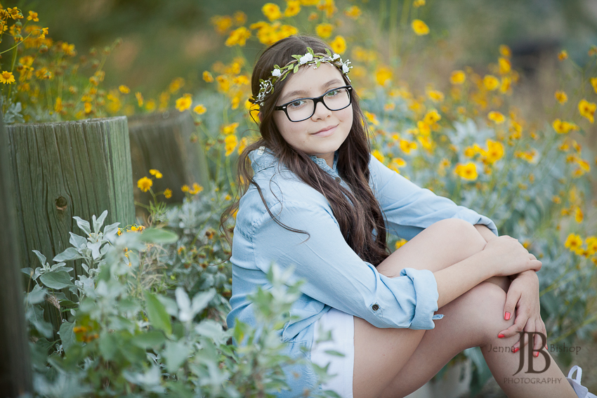 flowers and young girl mesa photographers