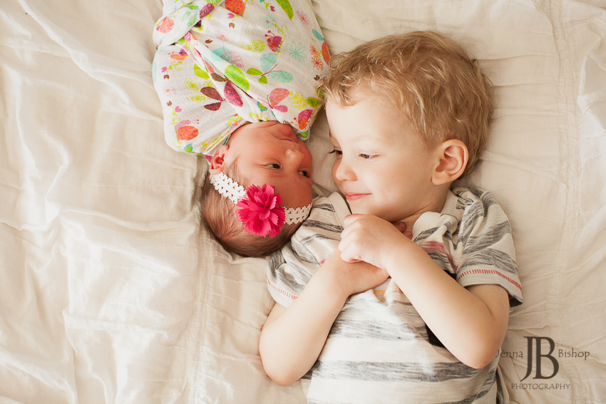 newborn girl with sibling brother