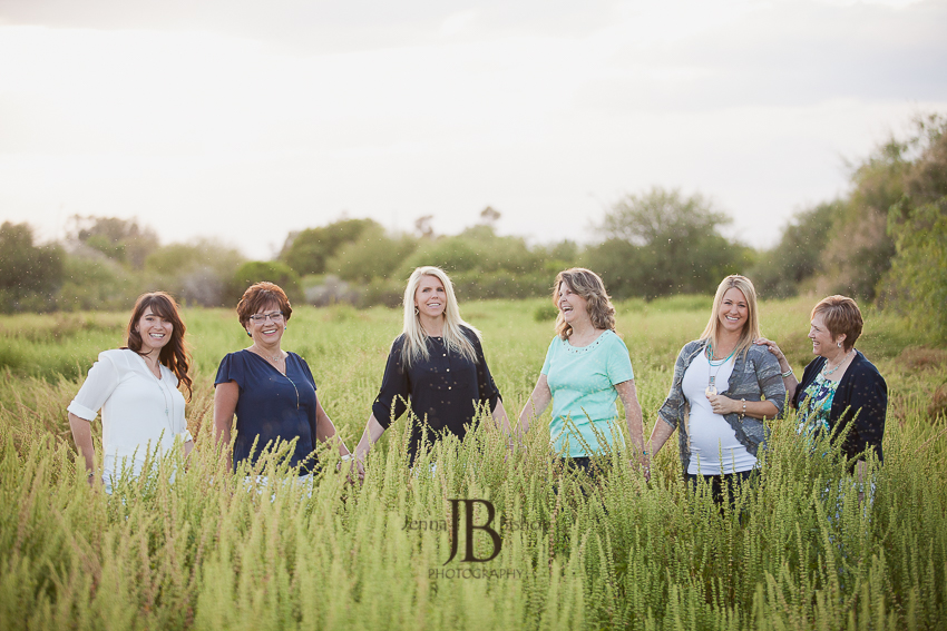fun group photos in a field