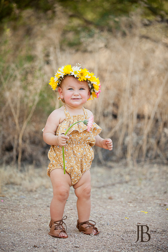 one year old girl with flower headband
