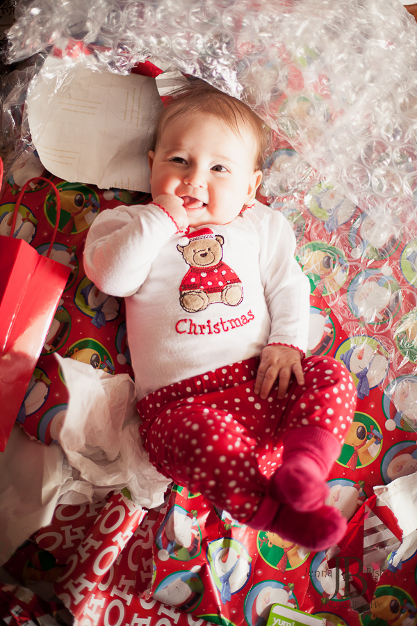 Christmas baby in wrapping paper