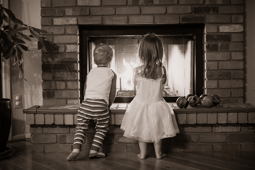 holiday children fireplace
